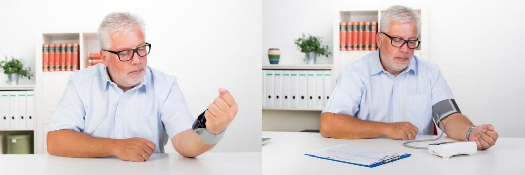 Blutdruckmessung am Handgelenk oder Oberarm